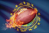 American football ball with flag on backround series - New Hampshire
