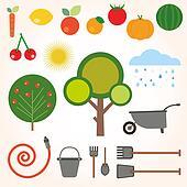 set of flat gardening icons