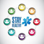 stay heathy people cycle illustration design