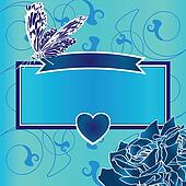 blue frame with heart, butterfly and roses