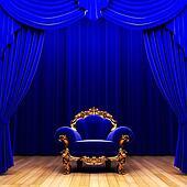 blue velvet curtain and chair