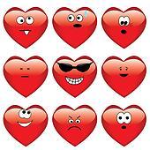 Set of nine cartoon hearts