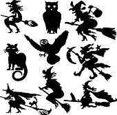 Silhouettes of witch