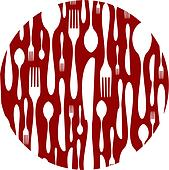 Cutlery pattern on red background