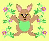 Bunny Rabbit with Flower Borders