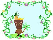 Frame of Tropical Plants, Tiki and Fruit Hat
