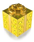 Present Yellow with Chickens and Gold band