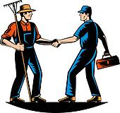 farmer and a tradesman,repairman,plumber or handyman shaking hands