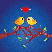 birds in love sitting on a branch