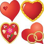 Set of valentine`s hearts, part 10