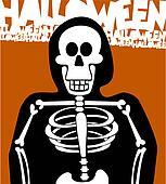 Halloween Skeleton Background. Greeting Card