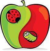 Yin yang apple vector