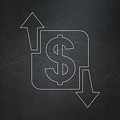 Business concept: Finance on chalkboard background