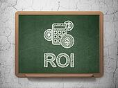 Business concept: Calculator and ROI on chalkboard background