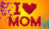 I love Mom Particles Heart Shape 3D