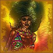 Retro afro, metallic abstract.