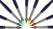 Half Circle of Paint brushes with colors