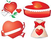 Set of valentine`s hearts, part 11