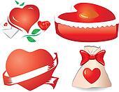 Set of valentine`s hearts, part 11