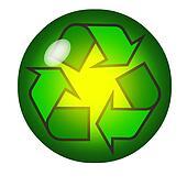 Recycling symbol inside a crystal ball