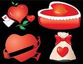 Set of valentine`s hearts, part 11 on black