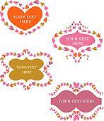 decorative vector retro  frames with hearts