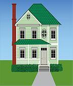 Tall Green Victorian Home