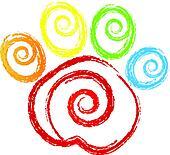Paw print with swirly heart logo