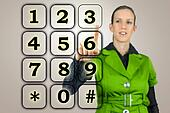 Woman with a numeric keypad