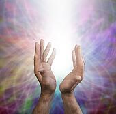 Male healing hands