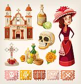 Set of items for day of the dead