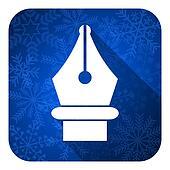 pen flat icon, christmas button