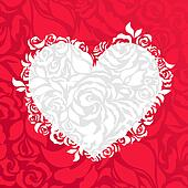 Heart and roses abstract background