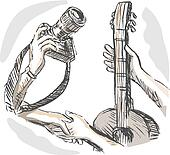 illustration of Barter swapping hands with camera and guitar