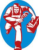 illustration of a Plumber with monkey wrench and toolbox running toward the viewer