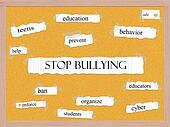 Stop Bullying Corkboard Word Concept