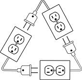 Electrical outlets plug recycle renewable electric energy
