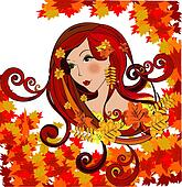 Autumn women, vector illustration