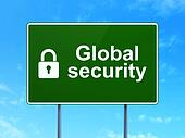 Safety concept: Global Security and Closed Padlock on road sign background