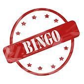 Red Weathered Bingo Stamp Circle and Stars