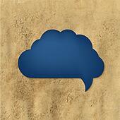 Blue Speech Bubble With Vintage Paper
