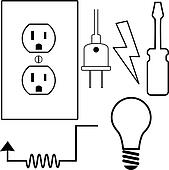 Electrical Repair Contractor Electrician Symbol Icons Set