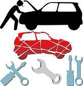 Auto Repair Maintenance Car Mechanic symbol set