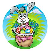 Easter rabbit with decorated eggs