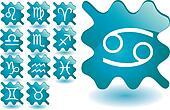 Blue zodiac buttons