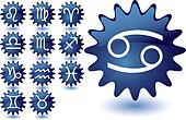 Blue glass suns as zodiac icons