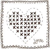 Handkerchief with embroidery heart