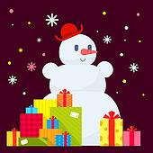 Vector illustration of the snowman and piles of presents on dark