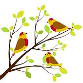 Cute birds sitting on branches. Yellow with red dots birds, white background.