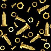 screws and nuts over black background